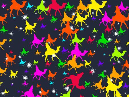 wisemen: Colourful three wisemen following the star Christmas wallpaper background design. Stock Photo