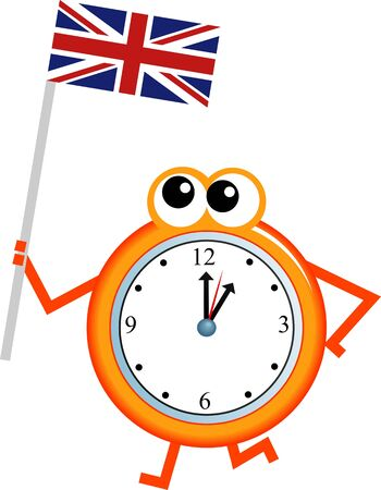 analogue: Mr clock man holding the Union Jack flag of Britain. Stock Photo