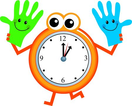 helpfulness: Mr clock man holding a happy pair of helpful hands.