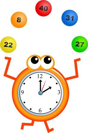 analogue: Mr clock man juggling lottery balls.