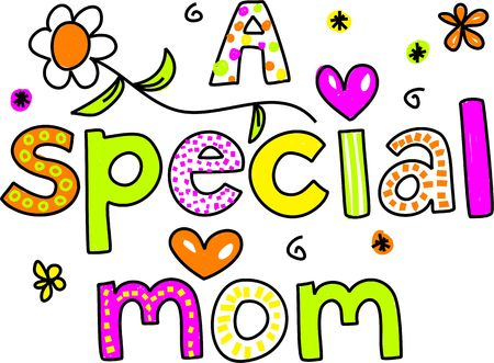 interact: A SPECIAL MOM decorative whimsical text design. Stock Photo