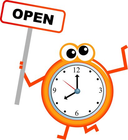 communication cartoon: Mr clock man holding an OPEN sign isolated on white. Stock Photo