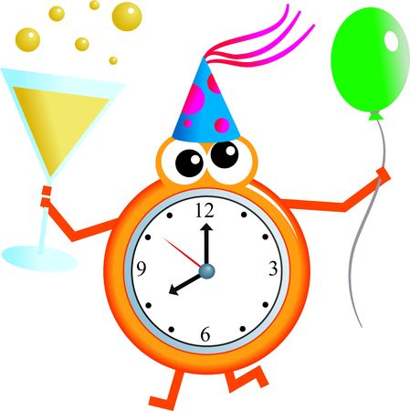 second birthday: Mr clock man holding a glass of champagne in one hand and a balloon in the other. Stock Photo