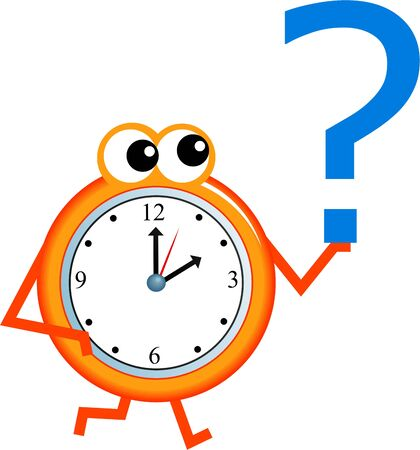 mr: Mr time holding a question mark symbol in his hand.