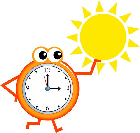 analogue: Mr time holding a sun isolated on white.