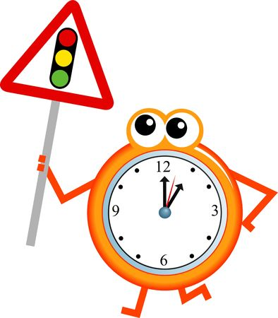 analogue: Mr time holding a traffic lights sign isolated on white.