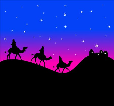 The three wisemen follow the star in the east. Stock Photo