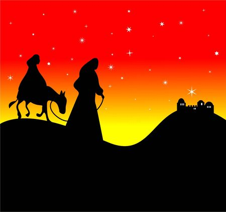 bethlehem: Silhouette of Mary and Joseph approaching Bethlehem in the distance. Stock Photo