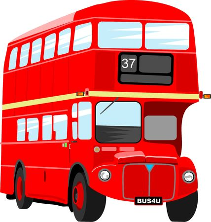 double decker bus: Big red London double decker bus isolated on white.