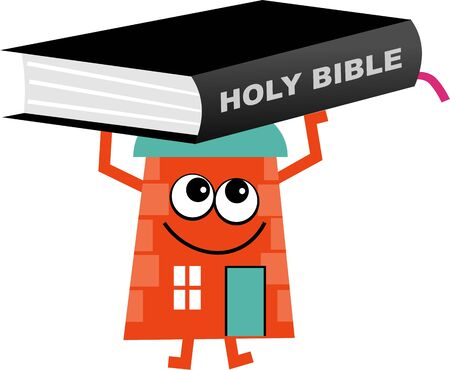 holy bible: Mr house holding a giant bible isolated on white.