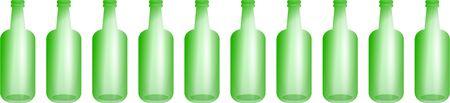 ten empty: A row of ten green bottles isolated on white.