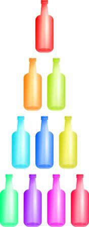 ten empty: Stack of colourful bottles isolated on white.