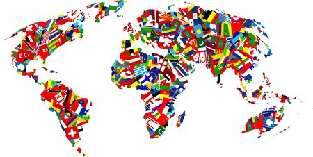 cultural diversity: Mapa de la tierra y redactadas con banderas de diferentes pa�ses del mundo.