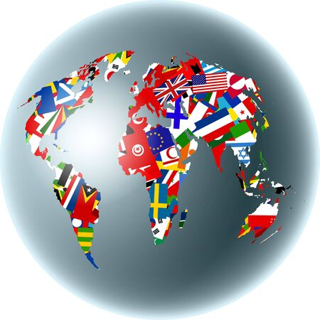 maps globes and flags: Map of the world set on a globe made up of various national flags. Stock Photo