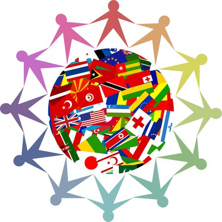 nations: Colourful icon made up of diverse people from all over the world. Stock Photo