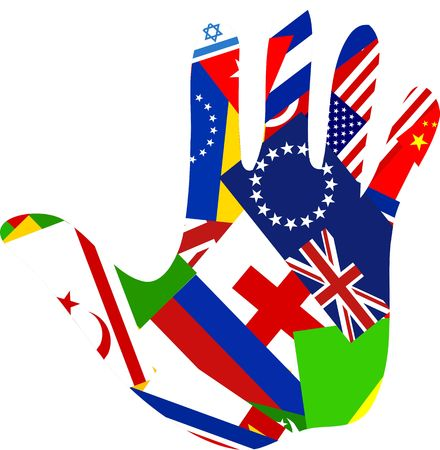 A human hand made up of flags from around the world. Diversity concept illustration. Stock Illustration - 4160043