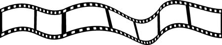 Wavy strip of movie or camera film isolated on white.
