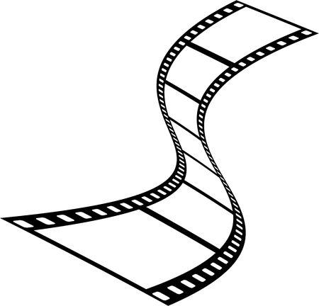 celluloid film: Wavy film movie strip isolated on white. Stock Photo