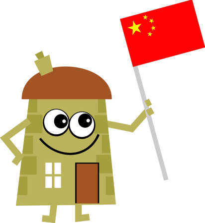 property of china: Mr house happily holding a flag of China isolated on white.