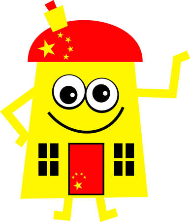 property of china: Mr house made up with livery of the Chinese flag. Stock Photo