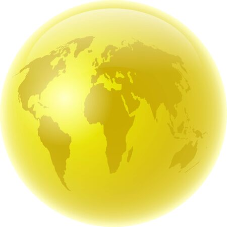 Golden coloured globe featuring map of the whole world isolated on white.