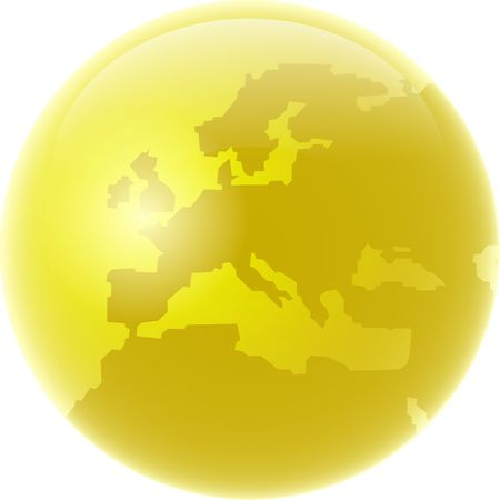 Golden coloured globe featuring map of Europe isolated on white.