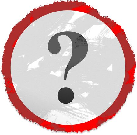 Grunge style Question mark sign isolated on white. photo