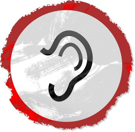 interact: Grunge style Ear sign isolated on white. Stock Photo