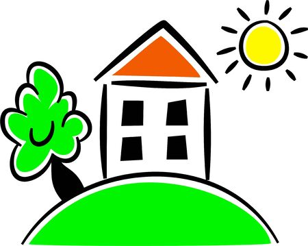 homely: Simple icon style drawing of a little house on a hill. Stock Photo