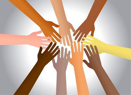 diversidad cultural: Manos de colores de diferentes culturas y llegar a tocar uno al otro. Foto de archivo