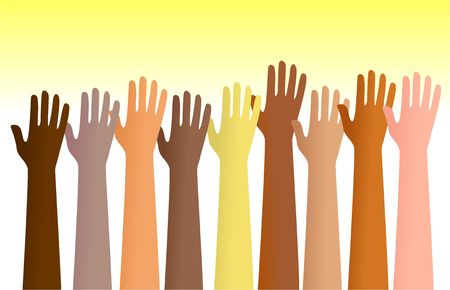 dicséret: Group of diverse hands raised in the air. This is a conceptual illustration that can show people volunteering for a service or people praising God etc.