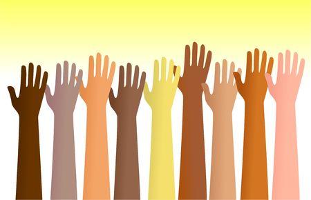 alabanza: Grupo de diversas manos planteadas en el aire. Esta es una ilustraci�n conceptual que puede mostrar a la gente para un servicio de voluntariado o de personas alabando a Dios etc
