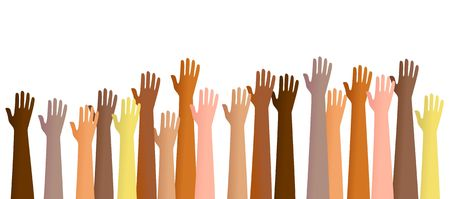 praise and worship: Group of diverse hands raised in the air. This is a conceptual illustration that can show people volunteering for a service or praising God etc. Stock Photo