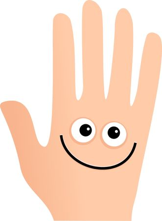 Cute cartoon hand with a happy smiling face isolated on white.