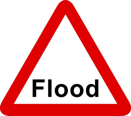Flood warning sign isolated on a white background.
