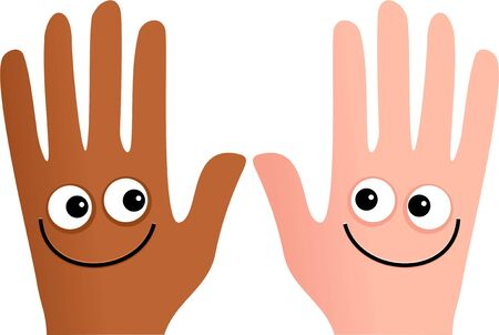 truce: An ethnic and caucasian hand smiling at each other.