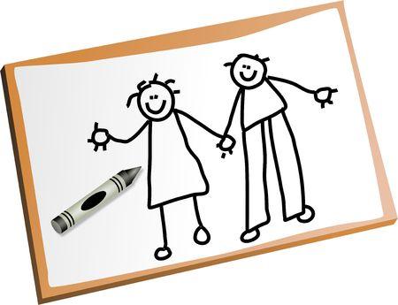 Kinder-Zeichnung von Mama und Papa Händen halten. Standard-Bild