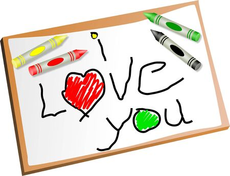 child's: Childs drawing of an I Love You message with coloured crayons. Stock Photo
