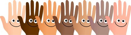 goodbye: Diverse and happy group of hands standing together.