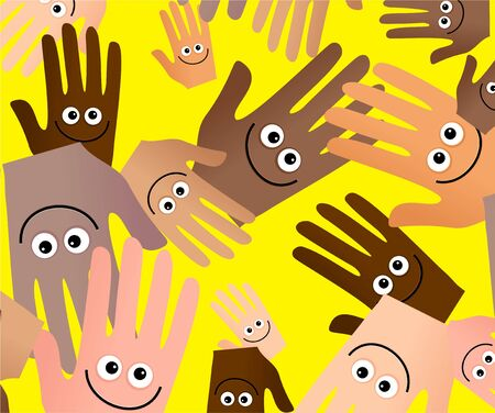 unison: Diverse happy hands abstract wallpaper background design.