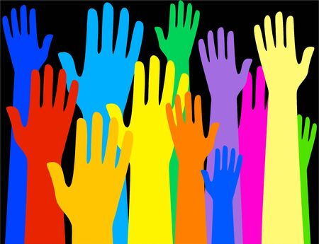 praise and worship: Group of colourful raised hands - conceptual image showing a diverse group of people. Stock Photo