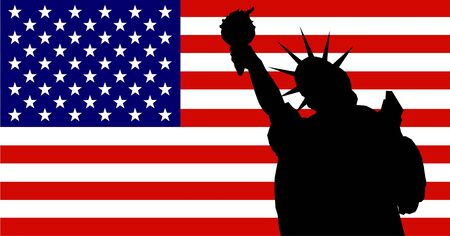 Flag of the United States of America with silhouette of the statue of liberty. photo