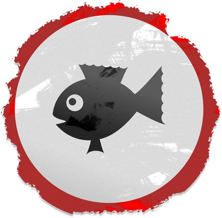interact: Grunge style fish sign isolated on white.