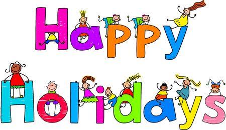 f�tes: Happy holidays message texte avec les petits enfants autour de l'escalade.
