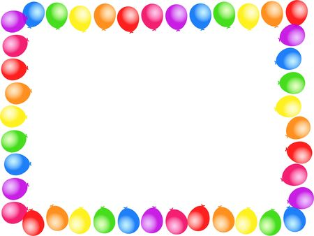 balloon border: Colourful birthday party balloon page border design. Stock Photo