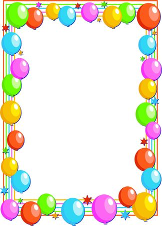 Colourful birthday party balloon page border design. Stock Photo