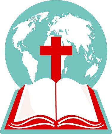 bible ouverte: Un globe terrestre, croix et sainte bible.