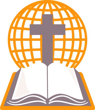Holy bible, cross and grid globe representing the world. Stock Photo