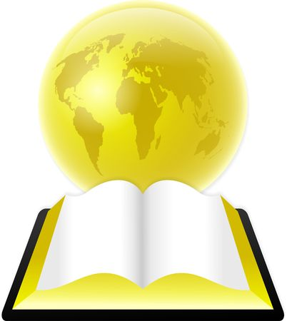 An open bible or book in front of a golden globe.