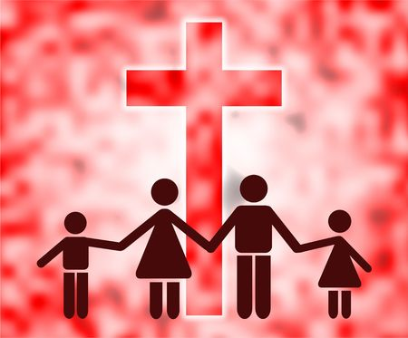 Christian family holding hands and standing in front of a giant cross symbol.